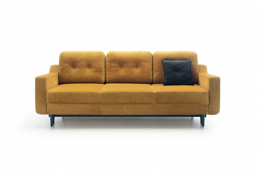 musztardowa sofa rozkładana