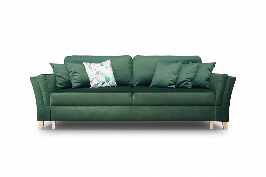 zielna sofa rozkładana z poduszkami