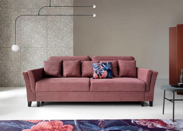 różowa sofa do salonu