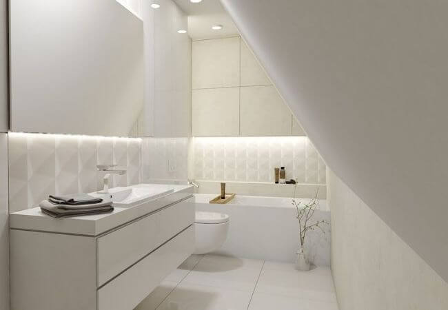 łazienka na poddaszu oświetlenie