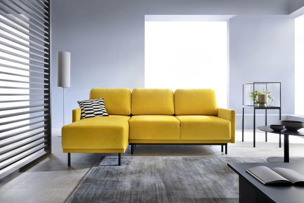 żółty narożnik do kawalerki, mieszkania lub domu