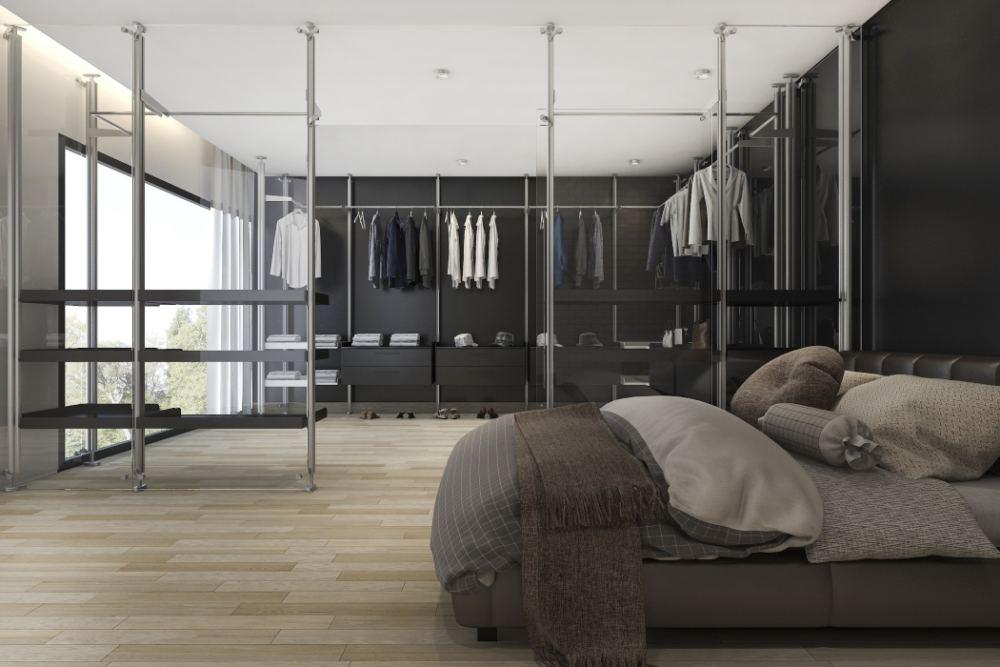 duża sypialnia z garderobą