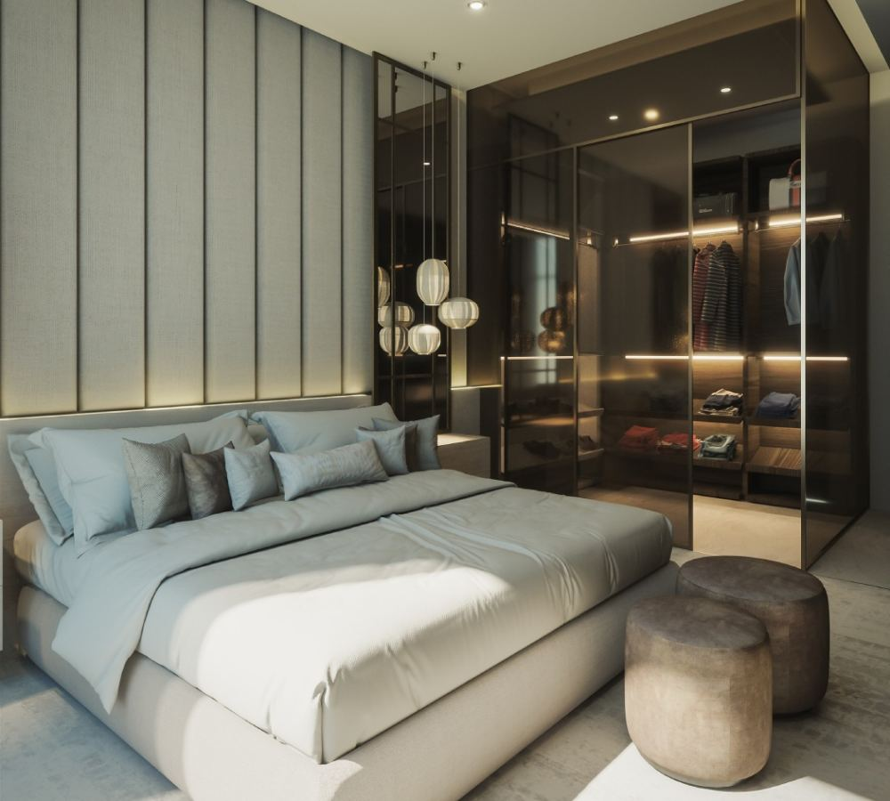 mała sypialnia z garderobą